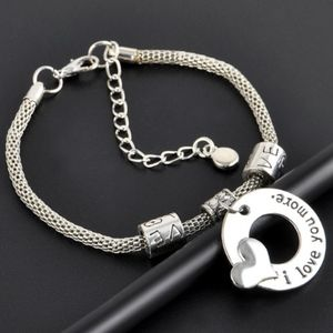 Jewelry - I Love You More Silver Circle Heart Charm Bracelet